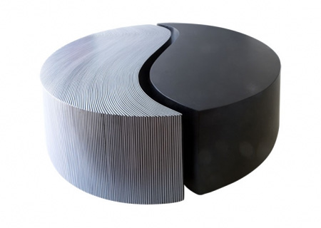 table coffee table in fiberglass with inlaid lines black alu