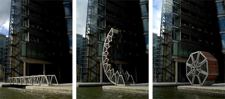 Incredible Rolling Bridge in London by Heatherwick Studio