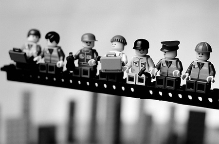 LEGO Lunch Atop a Skyscraper