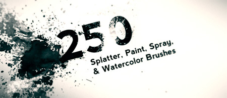 250 Hi Res Splatter, Spray, and Watercolor Photoshop Brushes