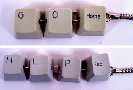 Recycled Computer Keyboard Keychains