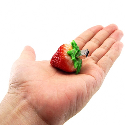 Realistic Strawberry 8GB USB Flash Drive