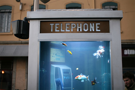 Aquarium Telephone Booth in France