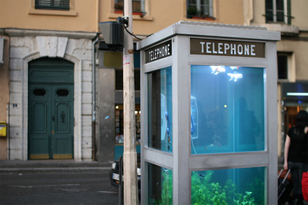 Aquarium Telephone Booth in France 2