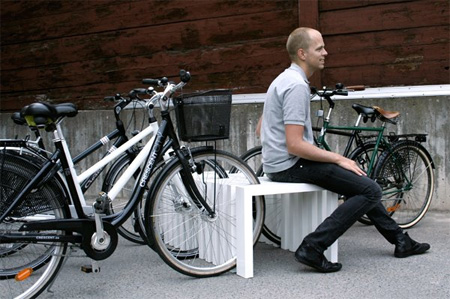 Creative Bench Doubles as a Bike Rack