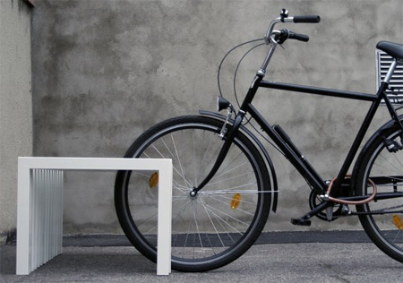 Creative Bench Doubles as a Bike Rack 3
