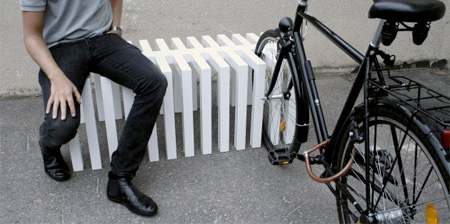 Bench Doubles as a Bike Rack