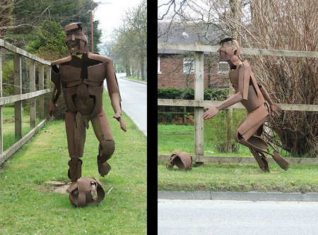Footballer Metal Sculpture