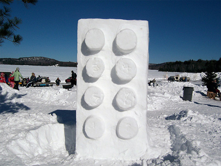 Giant Lego Snow Sculpture