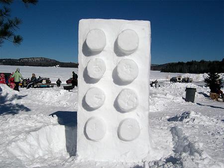 Giant Lego Snow Sculpture
