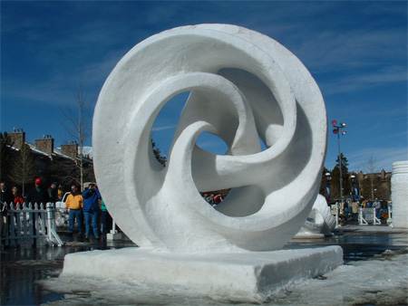 Whirled White Web Snow Sculpture
