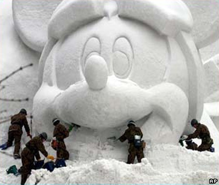Mickey Mouse Snow Sculpture