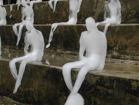 Melting Men Ice Sculptures