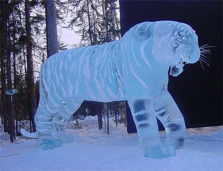 Tiger Ice Sculpture