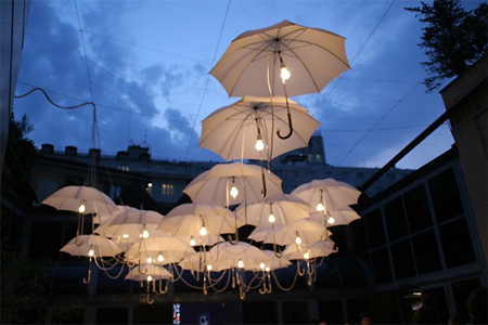 Umbrella Installation by Ingo Maurer