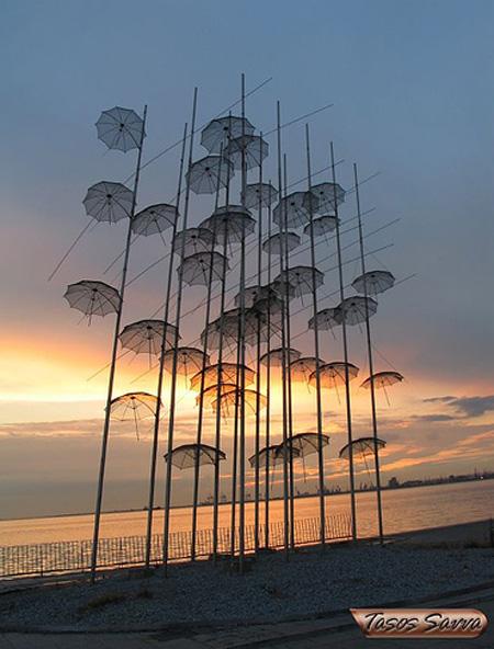 Umbrella Art Installation in Greece
