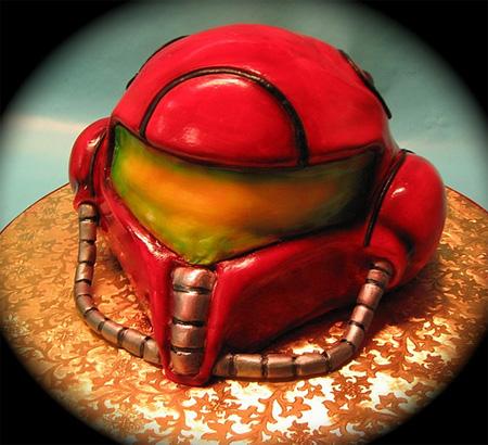 Super Metroid Helmet Cake