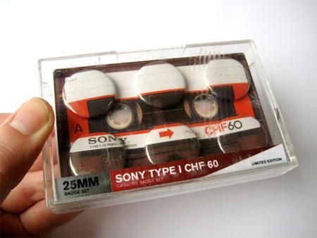 Cassette Tape Button Badges