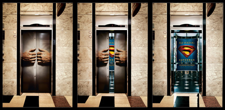 Superman Elevator Advertisement