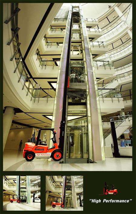 Achilles Forklift Elevator Advertisement