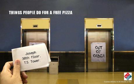 Dominos Pizza Elevator Advertisement