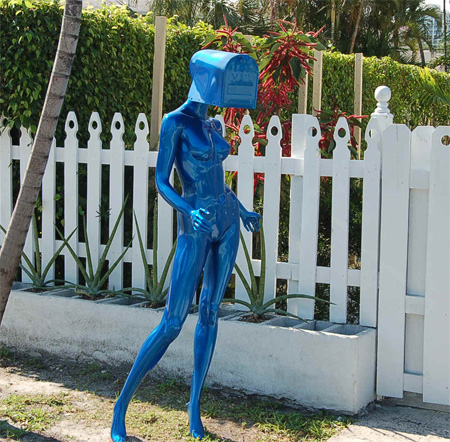 Blue Lady Mailbox Unusual Mailbox Design Located Somewhere In Miami