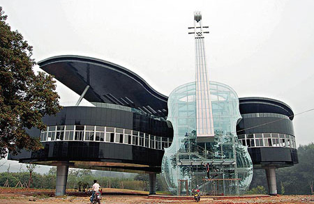 ilginç, bina, apartman gökdelen tasarımları piyanı gibi bina
