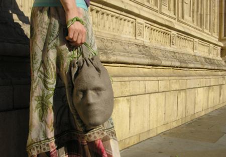 Голова в мешке, прикольная сумка.