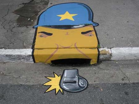[组图] 艺术走进生活 看巴西街道雨水口艺术画 - 路人@行者 - 路人@行者