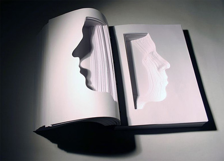 Book Face Sculptures by Nicholas Galanin