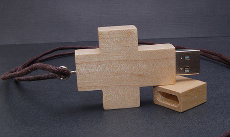 Wooden Cross USB Flash Drive