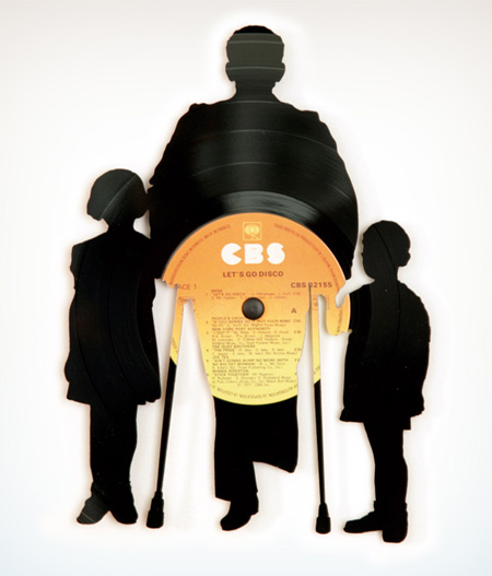 Silhouettes made from Vinyl Records 4