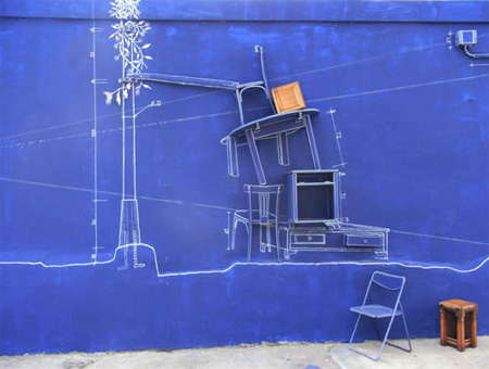 Creative Blueprint Art Installation