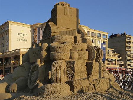 Tires Sand Sculpture