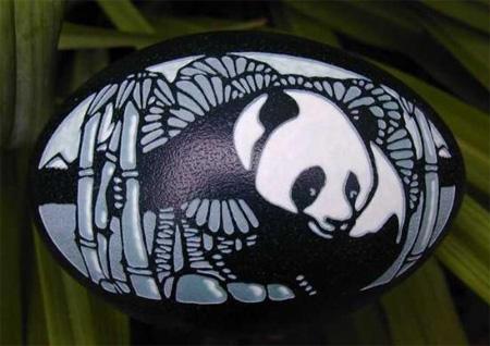 Panda Eggshell Carving