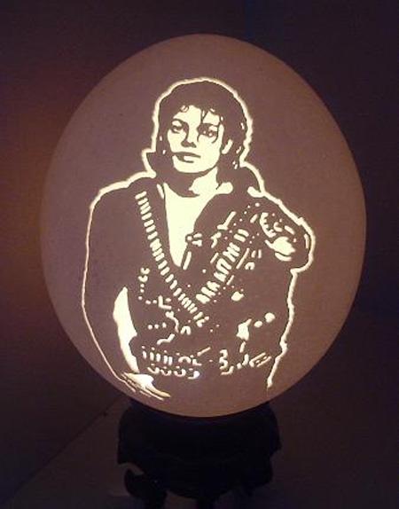 Michael Jackson Eggshell Carving