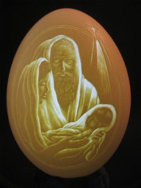 The Holy Family Eggshell Carving