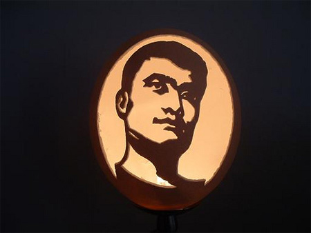 Yao Ming Eggshell Carving