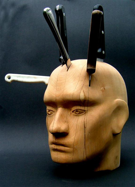 Human Head Knife Block