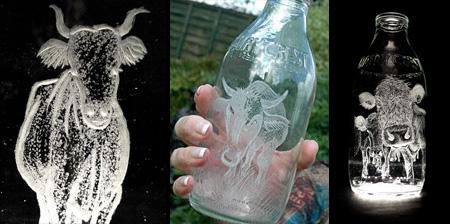Beautiful Milk Bottle Engravings