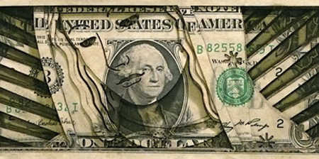 Laser Cut Dollar Bill Art