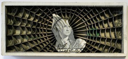 Laser Etched Dollar Bill Art