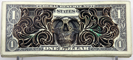 Laser Etched Dollar Bill Art by Scott Campbell