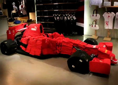 Ferrari Car Made Out of Clothes