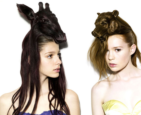 hat hairstyles. Each hat looks like an animal