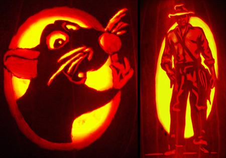 Ratatouille and Indiana Jones Pumpkin