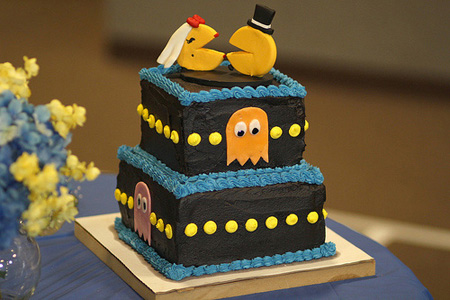 Cool PacMan inspired wedding cake designed by Renee White link