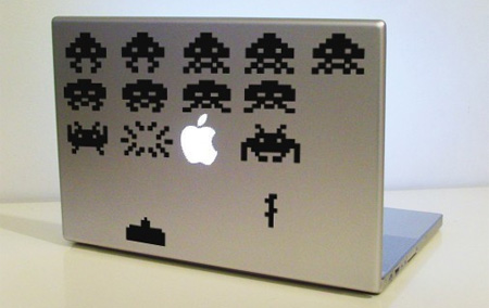 Space Invaders MacBook Sticker