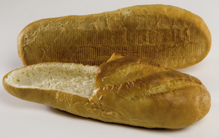 Loafer Shoes Made Out of Bread