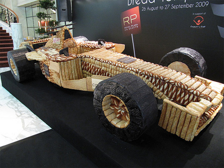 F1 Race Car made out of Bread